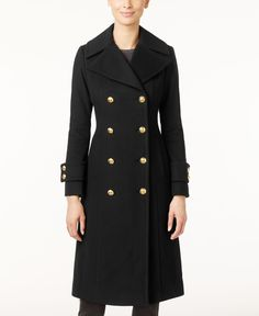 Anne Klein Double-Breasted Wool-Cashmere Blend Walker Coat