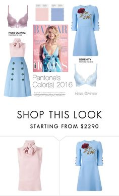 """""""Rose Quartz and Serenity"""" by asingular on Polyvore featuring Valentino, Dolce&Gabbana, bra, pantone and aimer"""
