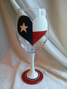 Hey, I found this really awesome Etsy listing at https://www.etsy.com/listing/183970840/texas-flag-heart-hand-painted-wine-glass