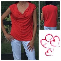 "Large Calvin Klein Blouse This is a cute size large red blouse. Measurements are 22"" across the bust, waist measures 20"" and length of top is 24"".  Like new condition. Material is polyester and has about an inch stretch. Calvin Klein Tops Blouses"