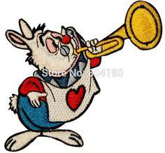"""3.5 """" Alice in Wonderland lapin corne lapin de pâques enfants Movie TV uniforme brodé fer sur Patch Badge enfants jour applique"""