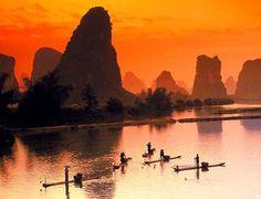 Yulong River, china. Bamboo Raft
