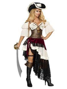 Women's Sexy Deluxe Pirateer Costume | Sexy Pirate Halloween Costumes | *Skirt*