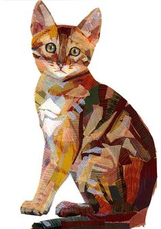 "Portraits of animals made in a technique combining drawing and collages. Award-winner ""Cat of Carouge"" combines architectural features and animal portraits."