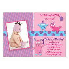 Lil Pink Monster Photo Birthday Invitations