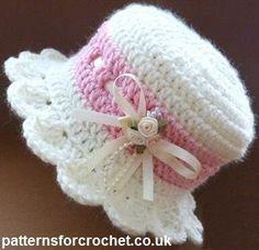 Patrón del ganchillo del bebé del bebé libre del sombrero de ala ancha EE.UU.
