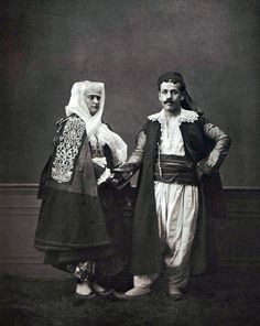 Ottoman Costumes, 1873. Christian man and woman from Shkodra, Albania.