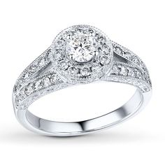 Diamond Engagement Ring 5/8 ct tw Round-cut Solid 14K White Gold #eximjewels #SolitairewithAccents #Christmas