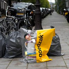 Dutch designers Waarmakers have created sustainable rubbish sacks for discarding unwanted items in good condition, in the hope that they'll be picked up by a new owner instead of ending up at a landfill site.