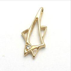 14k Yellow gold Diamond Jewish Pendant