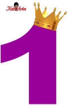 Alfabeto de Números Violeta oscuro con Coronas.