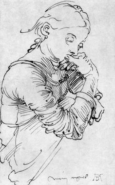 "Albrecht Dürer, ""My Agnes,"" Ink Drawing, Figure Drawing, Line Drawing, Drawing Sketches, Painting & Drawing, Art Drawings, Albrecht Durer, Alphonse Mucha, Design Pop Art, Graphic Design"