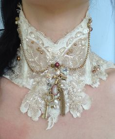 Lace wedding collar real pearls crystals Wedgewood pendant one off design £95