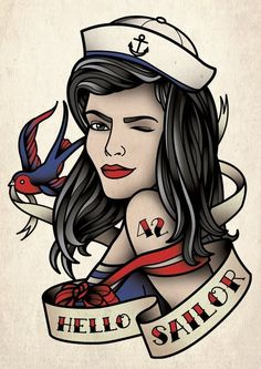 Hello Sailor Pin Up Girl And Bird Tattoo Flash