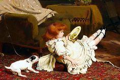 9x6 ** CHARLES BURTON BARBER Print c19th Victorian Girl Jack Russell Terrier Dog
