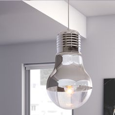 Giselle Ceiling Lamp, Like having a bright idea above your head, the Giselle ceiling lamp's chrome facade and light bulb shape will be the conversation piece in any room. UL approved. The height is fully adjustable. $205, homeschool, office, classroom