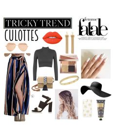"""""""Tricky Trend: Culottes"""" by honeyddee on Polyvore featuring WearAll, Lime Crime, Linda Farrow, Chloé, Stella & Dot, Cartier, Sonix, Topshop, Bobbi Brown Cosmetics and William Morris"""