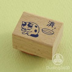 "Japanese Cat Wooden Rubber Stamp - ""Finished"" - Pottering Cat"