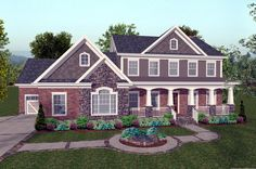 House Plan 92392 | Craftsman Plan with 2697 Sq. Ft., 4 Bedrooms, 5 Bathrooms, 3 Car Garage at family home plans
