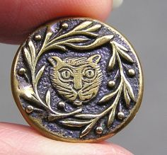 A Cheshire cat head button