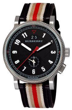 Burberry Tricolor Webbing Dual Time Mens Watch Model: BU7680