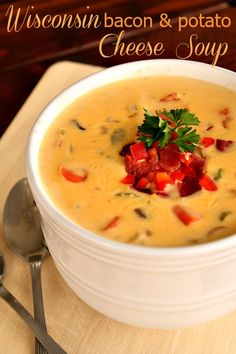 Wisconsin Bacon and Potato Cheese Soup on SixSistersStuff.com