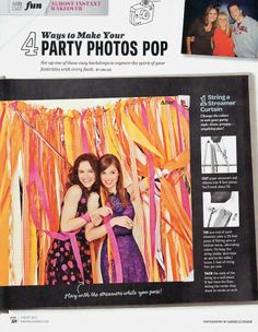 Party Photo Backdrop idea from Rachel Ray magazine. Cut ~ 50 8 foot streamers and ribbon and tie one end of each on a 10-foot piece of fishing wire.