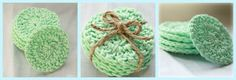 DIY Crocheted face scrubbers. The pattern is free!  http://thatmorrisfamily.blogspot.com/2012/02/free-pattern-crocheted-face-scrubbers.html  I believe I'll make a few for myself and make some a bit larger for my eight-year old daughter. She could use it as a facecloth.