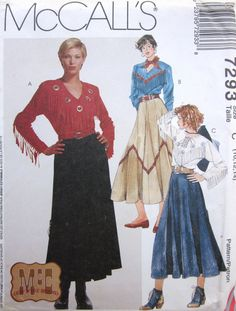 McCalls 7293 Vintage Womens Western Top And Skirt