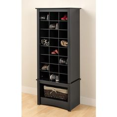 Amazon.com: Black Tall Shoe Cubbie Cabinet: Kitchen & Dining