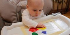 Over the weekend we decided to do a baby arts and crafts project - mess free finger painting! I knew they would like it, because when we f. Infant Activities, Activities For Kids, Baby Finger Paint, Art For Kids, Crafts For Kids, Finger Painting, Baby Art, Arts And Crafts Projects, Wood Toys