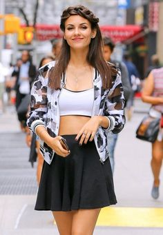 Victoria Justice is All Smiles While out in NYC. Victoria with first time Crown Braid