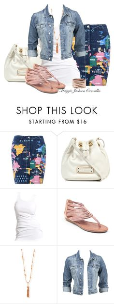 """""""Love Moschino Knee Length Map Skirt"""" by maggie-jackson-carvalho ❤ liked on Polyvore featuring Love Moschino, Marc by Marc Jacobs, Soaked in Luxury, Lucky Brand, ChloBo, Modström and Repossi"""