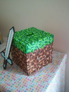 6x6 Minecraft Dirt Cube Coin Bank with Sword perler beads by perlephile