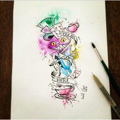Watercolor Art by @dn_alves Alice in the wonderland // no pais das maravilhas Sketch Daniel R Alves Artist