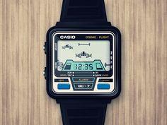 "Casio ""Cosmo Flight"" watch designed by Raul . Retro Watches, Old Watches, Watches For Men, Casio Vintage, Game & Watch, Home Technology, Retro Toys, Casio Watch, Digital Watch"