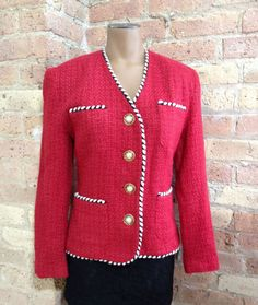 Laundry ~ Vintage Red Tweed Blazer size Small ~ Pearl Gold Button Jacket #Laundry #Blazer