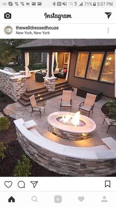 that place for the fire outside surrounded by comfortable armchairs  #LandscapingandOutdoorSpaces