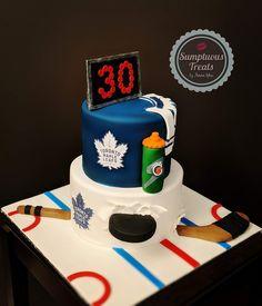 Toronto Maple Leafs Theme 30th Birthday Cake #torontomapleleafs #hockeycake #torontomapleleafsfan #hockeyfan #customcakestoronto #cakeartist #personalizedcakes #hockeytheme www.instagram.com/sumptuoustreats Hockey Birthday Cake, Hockey Birthday Parties, 9th Birthday, Birthday Ideas, Hockey Cakes, Party Food Platters, Sport Cakes, Hockey Gifts, Personalized Cakes