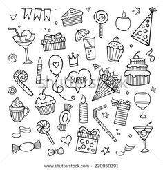 Planner doodles perfect for bullet journal party themes Doodle Drawings, Easy Drawings, Doodle Art, Doodle Illustrations, Doodle Pages, Birthday Doodle, Birthday Cards, Doodle Coloring, Coloring Pages