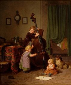 Böttcher Christian Eduard - The Music Lesson - 1860 Violin Family, Double Bass, Classic Paintings, Art Paintings, Learning Styles, Music Lessons, Woman Painting, Cute Illustration, Art For Kids