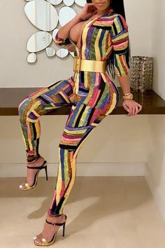 055a358f70a Color Block Deep V Neck 3 4 Length Sleeve Regular Jumpsuit