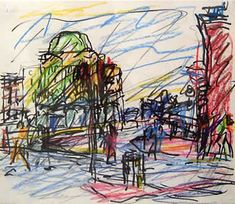 Frank Auerbach: 1 of 2 Studies for 'Camden Palace' Frank Auerbach, Landscape Drawings, Landscape Art, Landscape Paintings, Berlin, Royal College Of Art, A Level Art, Sketchbook Inspiration, Art Themes
