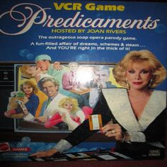#JOANRIVERS RIP. CAN WE TALK? Yes! It's a VCR game, PREDICAMENTS, hosted by #JoanRivers ... for ADULTS only, of course!!! . Can you believe how young she was when this came out? And everything in it is in pristine condition. This will be a collectible! Make me an offer at goombarterboom.com.