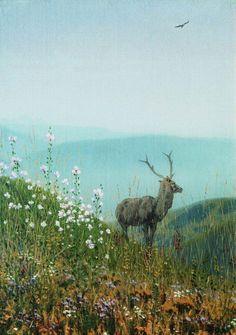 В горах Алатау. Пейзаж с оленем, фото гор и степей, фотография
