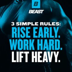 """""""3 Simple Rules: Rise Early. Work Hard. Lift Heavy."""" #LiftHeavy #Fitness #Muscle #Gains You Fitness, Fitness Tips, Fitness Motivation, Health Fitness, Weekend Workout, Workout Tips, Muscle Training, Inspirational Quotes For Women, Simple Rules"""