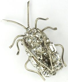 Roger Jean Pierre Depose Made In France Pave and Baguettes Bug Pin Clip
