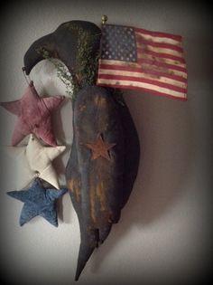 Made to Order Primitive Inspired Black Crow Americana Patriotic  Stars American Flag Sweet Annie Rusty Star OFG HAFAIR Homespun Society