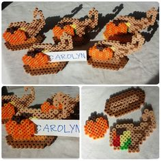 Cornucopia and pumpkin place card holders perler beads by Carolyn Hoes