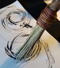 Handmade Paint Brush 8 inch Natural Stiff Fiber Bristles, On A 12 inch Long TX hardwood Handle